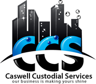 black, blue graphic design image Caswell Custodial Services company logoworks design