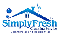 graphic imagecolors are blue, white Simply Fresh Cleaning Service company logo gurus designing