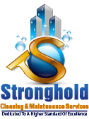 logo design image Stronghold Cleaning and Maintenance blue, gold colors with gold S and blue commercial buildings