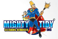 logo design graphic image cleaning guy with bucket on head holding dust mop with a cape on and holding bucket of cleaning supplies
